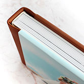 Image wrap book cover with leatherette binding