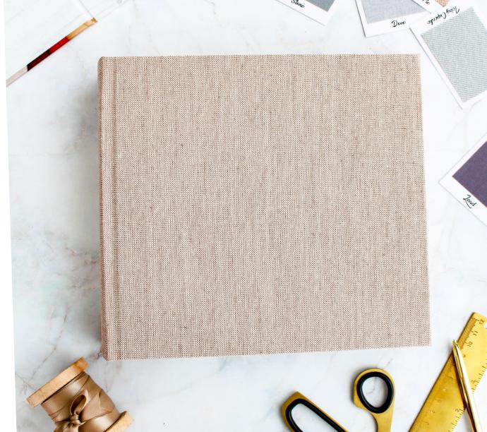 Image wrap book cover with linen binding